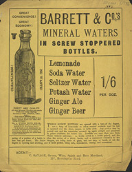 Advert For Barrett & Co., Mineral Water